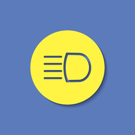 Headlight high beam symbol vector hmi dashboard flat icon