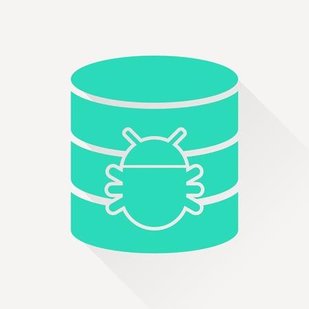 Bug in database flat icon. Computing vector illustration Illustration
