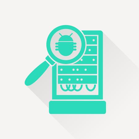 Database server bug inspection flat icon. Vector malware illustration Illustration