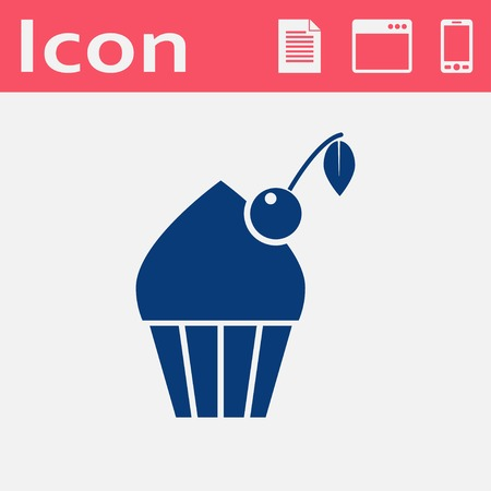 cupcake illustration: Vector cupcake with cherry icon. Food icon. Eps10 Illustration