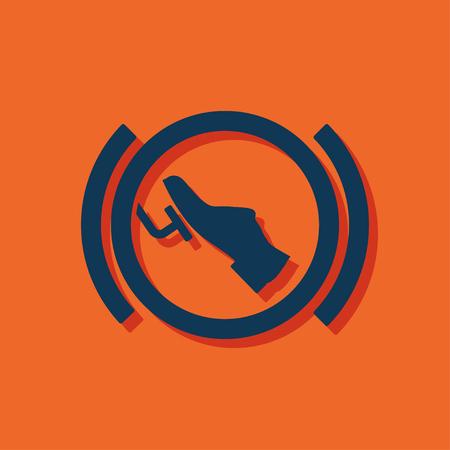 accelerated: Press break pedal warning vector hmi dashboard flat icon Illustration