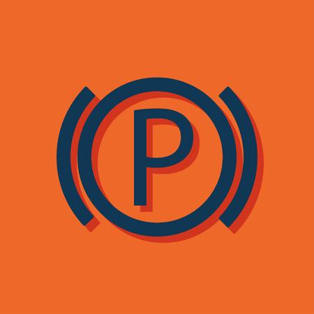 Car parking brake warning vector hmi dashboard flat icon