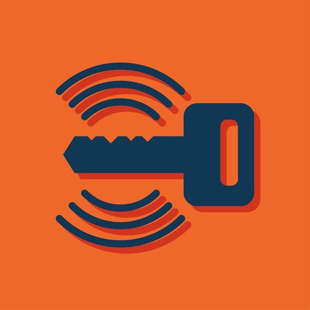 Car remote key symbol vector hmi dashboard flat icon Illustration