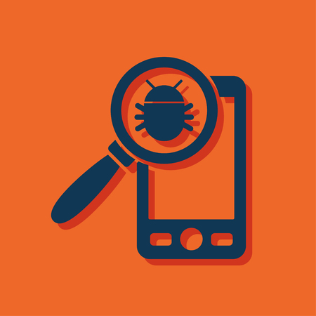 spyware: Bug in smartphone flat icon. Vector illustration concept of mobile phone with virus alert message.