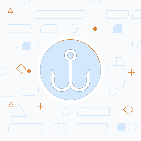 Barbed fish hook vector icon