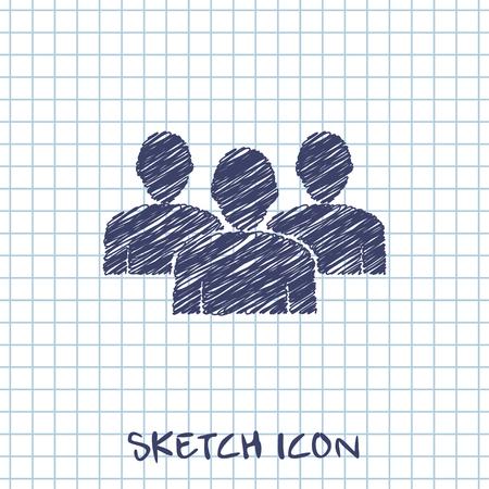 Team sketch. People group vector illustration