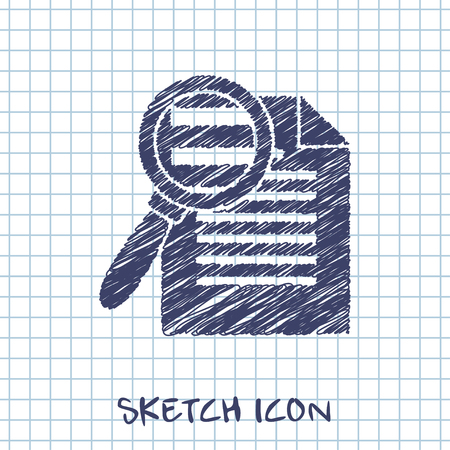 Search in file icon. Find in document symbol. Vector sketch Stock Illustratie