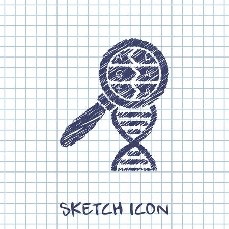 DNA helix sketch. Molecular biology science vector illustration