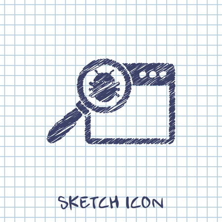 Manual debugging process, code development programming concept web sketch icon. Elimination bugs from computer app illustration.