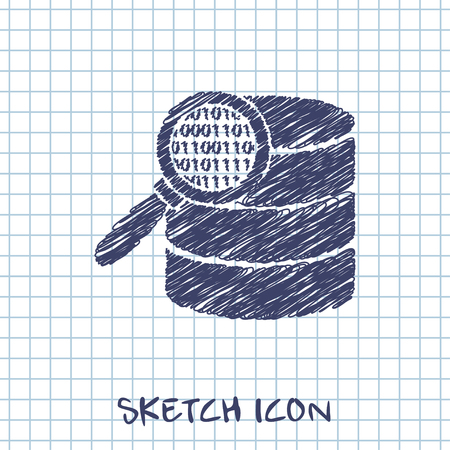 Search database sketch. magnifier and data vector illustration