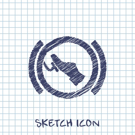Press break pedal warning vector hmi dashboard sketch icon