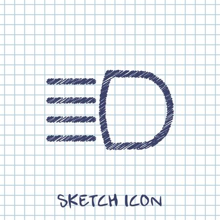 Headlight high beam symbol vector hmi dashboard sketch icon