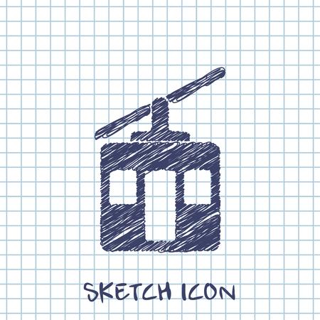 Funicular sign vector sketch icon