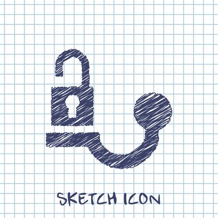 Trailer tow hitch unlock warning vector hmi dashboard sketch icon Vektorové ilustrace