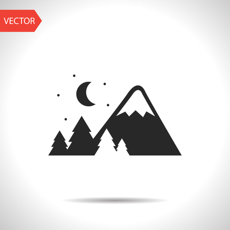 Mountains covered with snow at night illustration. Traveling vector icon.