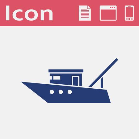 Icône ou signe de bateau de pêche à moteur, icône de vecteur