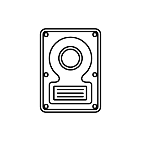 vector outline icon of hard disk