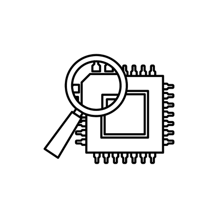 vector outline icon of microchip discover