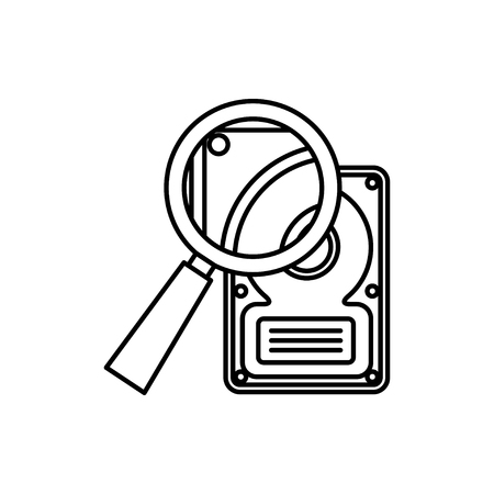 vector outline icon of hard disk search Stock Illustratie