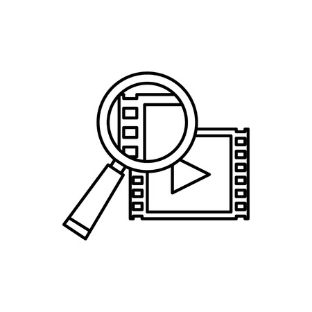 vector outline icon of video search