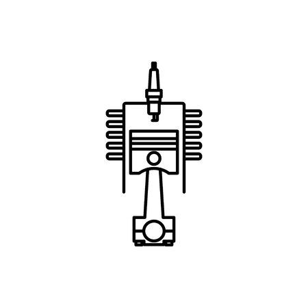 vector outline icon of engine piston and cylinder Stock Illustratie