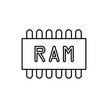 vector outline icon of memory chip