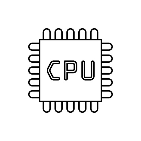 vector outline icon of microchip
