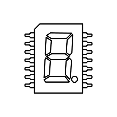 vector outline icon of digital microchip Stock Illustratie