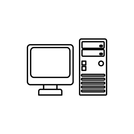 vector outline icon of computer Stock Illustratie