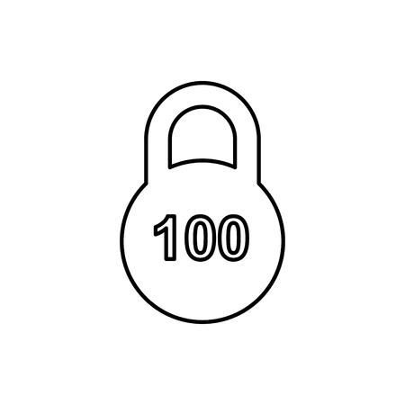 vector outline icon of weight