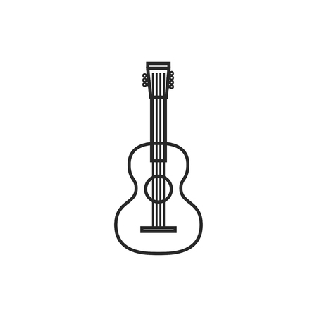 Acoustic guitar illustration. Musical instrument vector outline icon