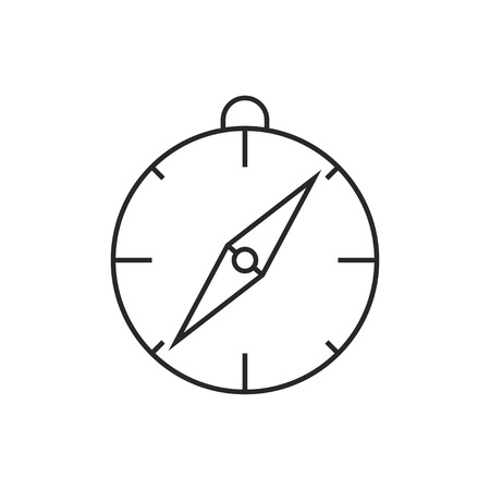 Compass illustration. Navigation vector outline icon.