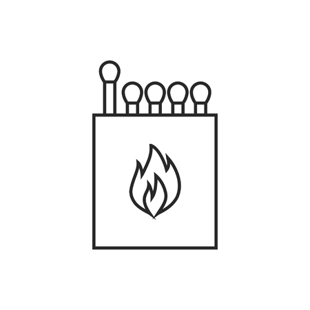 Box of matches illustration. Fire vector outline icon