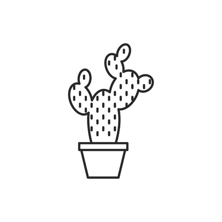 Cactus in flower pot illustration. Household vector outline icon