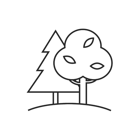 Forest with trees and furtrees illustration. Nature vector outline icon Ilustrace