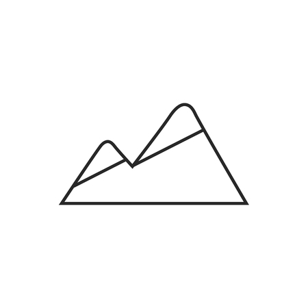 Peaks covered with snow illustration. Mountains vector outline icon