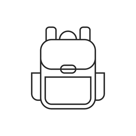 Tourist backpack illustration. Adventures vector outline icon Ilustrace