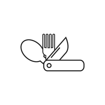 Swiss tourist knife illustration. Camping vector outline icon