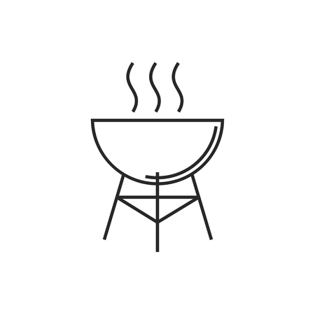 Hot barbecue grill illustration. Vacation vector outline icon Ilustrace