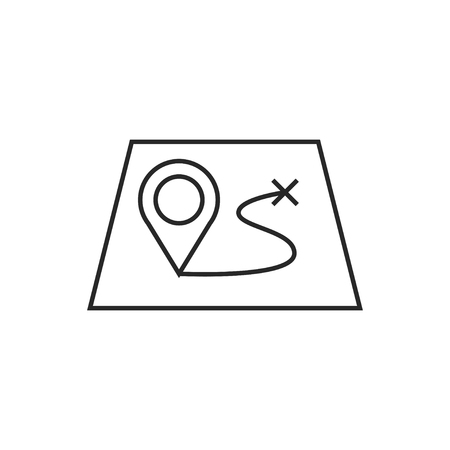 Route on a map with destination illustration. Adventures vector outline icon