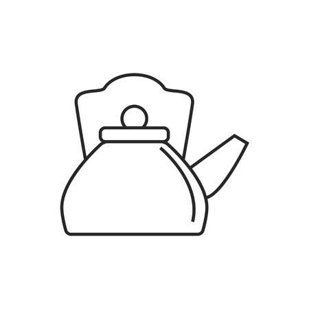 Hot kettle illustration. Kitchen vector outline icon