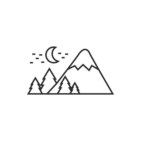 Mountains covered with snow at night illustration. Traveling vector outline icon.