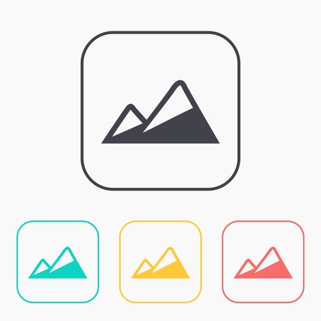 Peaks covered with snow illustration. Mountains vector color icon set