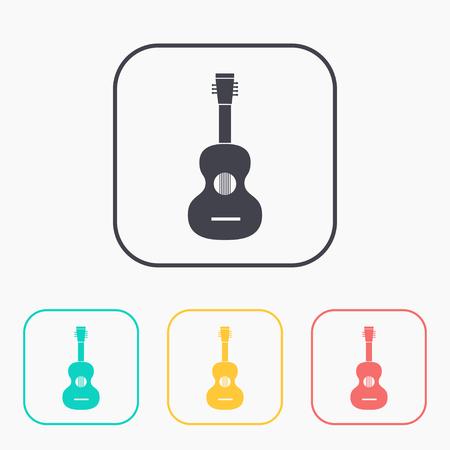 Acoustic guitar illustration. Musical instrument vector color icon set Ilustrace