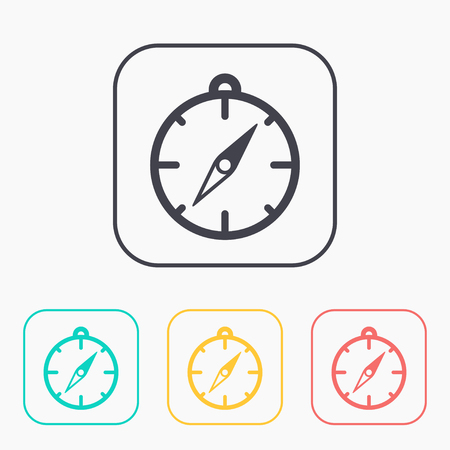 Compass illustration. Navigation vector color icon set.