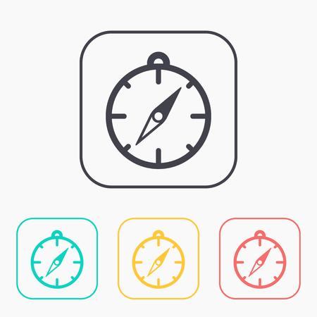 Compass illustration. Navigation vector color icon set.