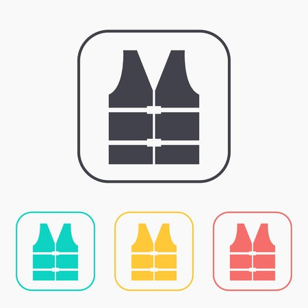 Rescue jacket illustration. Safety vector color icon set