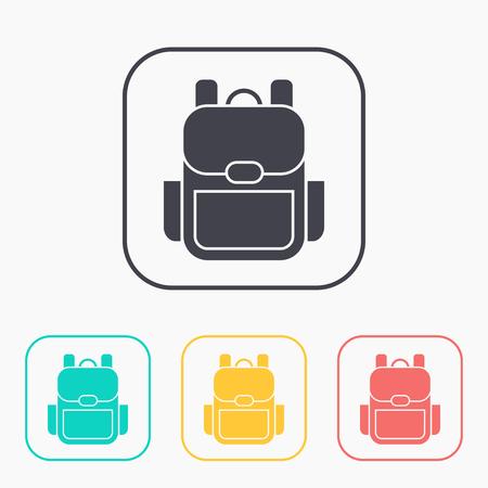 Tourist backpack illustration. Adventures vector color icon set Ilustrace