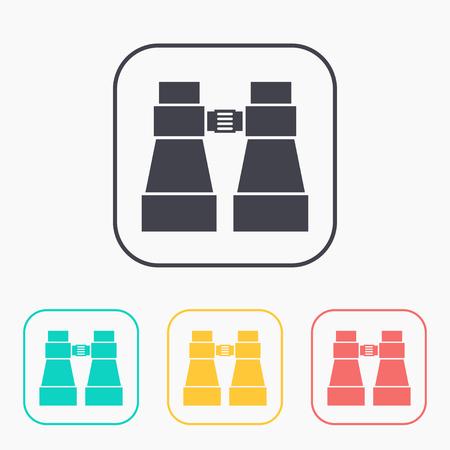 Tourist binocular illustration. Adventures vector color icon set Ilustrace