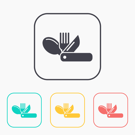 Swiss tourist knife illustration. Camping vector color icon set Ilustrace